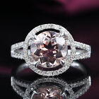 HALO Solid 14K White Gold 2.38ct Morganite PAVE .35ct SI Diamond Engagement Ring