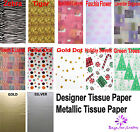 "10 LARGE Sheets Tissue Paper 18"" x 28"" PRINTED / GOLD / SILVER  Choice 450x700mm"
