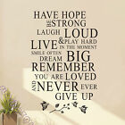 038P Have Hope Quote Wall Stickers  Quotes Sticker Decal Decals white or black