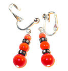 ORANGE CATS EYE Earrings & Black Swarovski Crystal Elements Sterling Silver