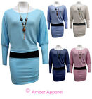 NEW LADIES BATWING SLEEVE DRESS TOP WITH NECKLACE SIZE 8 10 12 14