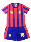 BOYS FOOTBALL KIT SHORT SET BARCELONA RED/BLUE 2-10years BNWT #BARCELONA