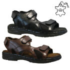 NEW MENS LEATHER TWIN VELCRO WALKING SUMMER HOLIDAY BEACH MULES SANDALS SHOES
