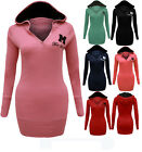 CLEARANCE NEW LADIES MISS SEXY HOODED LONG SLEEVE T SHIRT HOODIE DRESS TOP