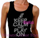 Keep Calm and Play On - TRACK - Iron on Rhinestone Tank Top -Sports Mom Shirt