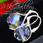 SWAROVSKI ELEMENTS CRYSTAL  10/12mm ROUND Earrings - STERLING SILVER  - Colours