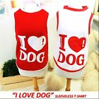 Luxury Pet Apparel- ILoveDog Clothes White&Pink Small-XLarge Shirt Cute Heart