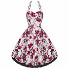 Vintage Style Retro Rockabilly Swing Dress White Pink Floral 50's Wedding Party