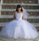 FLOWER GIRL LACE UP BACK CHRISTENING GOWN YOUNG LADIES WHITE DRESS 1ST COMMUNION
