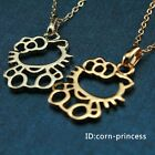 18K GP Gold & White Gold Hollow Kitty Cat Pendant 1.1*0.7 inch Necklace Cute