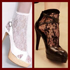 2 x Sexy Therapy All Over Lace Ankle Socks Fashion Ladies Black White