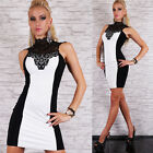 Sexy Stunning Party Cocktail Bodycon mini Dress Black&White Sizes UK 8-12
