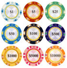25pc 13.5g Clay Monte Carlo Poker Chips  Choose From 9 Colors