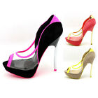 FDW Womens Fashion Clear Peep Open Toe Metal Platform Pumps High Heels Shoes