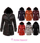 NEW LADIES BELTED BUTTON CHECK COAT WOMENS HOODED JACKET SIZES 8-14