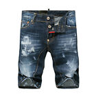 New Mens Italy Style Anchor Mark Distressed DENIM Blue Pants SHORTS JEANS D#807T