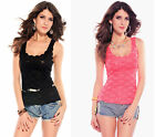Sexy Delicate Lace Vest Top Party/Clubbing Black/Pink Size 10/12