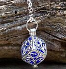 RECYCLED VINTAGE GLASS JEWELRY ~ SILVER FILIGREE BOX NECKLACE ~ 6 COLORS