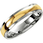 5mm Sterling Silver & 10K Yellow Gold Two-Tone Comfort Fit Wedding Band Ring