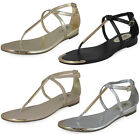 LADIES WOMENS GOLD ZIP ANKLE TOE-POST FLAT BUCKLE SUMMER BEACH SHOES SANDAL SIZE