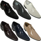 NEW MENS ITALIAN DESIGN LACE UP POINTED VOEUT WEDDING PATENT FORMAL PARTY SHOES