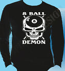 Pool T-Shirt 8 Ball Hustler T-Shirt Snooker 8 Ball Demon Skulls Head Long Sleeve $20.99 USD on eBay