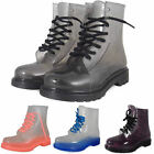 WOMENS LADIES ANKLE FLAT CLEAR JELLY LACE UP WELLIES WELLINGTON BOOTS SHOES SIZE