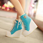 Fashion Womens Faux Leather Laces Up Wedge Platform Ankle Boots Shoes PLUS SIZE