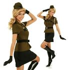 Adult 50s Pin Up Girl Army Costume Military Uniform Fancy Dress Party Outfit