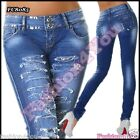 Women's Jeans Sexy Skinny Hipsters Destroyed Ripped Blue Size 6,8,10,12,14 UK