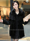 100%Real Knitted Mink Fur Long Coat Jacket Outwear Garment Colthing Warm Women