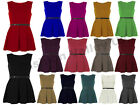 WOMENS SLEEVELESS FLARED FRANKIE PARTY LADIES PLEATED BELTED SKATER  DRESS TOP