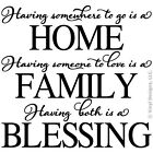 HAVING SOMEWHERE TO GO HOME-FAMILY LOVE QUOTE VINYL WALL DECAL STICKER ART-DECOR