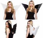 Adult White or Black Feather Angel Fairy Halloween Christmas Fancy Dress Wings
