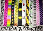Print LANYARD key chain ID Piano Panda Checkered Smiley Face Mustache Fire Skull