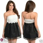 Sexy Juniors BabyDoll Mini Dress Sheer Organza Crocheted Bustier Overlay Skirt