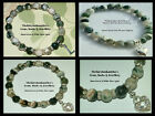 8mm WHITE & GREEN MOSS AGATE BEADS STRETCH BRACELET ~ SILVER OR GOLD SPACERS ~