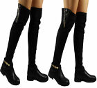 NEW WOMENS LADIES LYCRA FAUX SUEDE ZIP BUCKLE GRIP BOOTS SHOES SIZES 3-8 UK