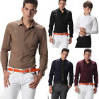 UK STOCK Mens Luxury Stylish Long Sleeve Formal Casual Slim Fit Dress Shirt Tops