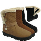 WOMENS WINTER FAUX FUR LINED BUCKLE QUILTED FLAT SNOW ANKLE TWO BUTTON BOOT SIZE