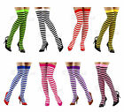 Black Pink Red White Striped Over Knee Thigh High Socks Ladies School Size 4-6.5