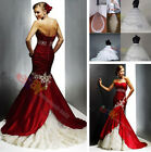 New Elegant Mermaid bridal Wedding gown fishtail Wedding Dresses SZ 6-16 lace up