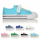 LACE UP PUMPS FOR GIRLS LADIES AND WOMEN HI TOP FLAT CANVAS TRAINERS ALL SIZES