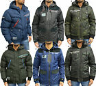 Mens Designer Rawcraft Padded Jacket Puffer Hooded Bomber Parka Shell Hood Coat