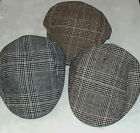 Scottish Souvenir Flat Cap Tweed/Tartan Style: Black White Brown: Various Sizes
