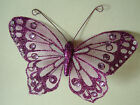 12cm Clip on Organza Butterfly  -  Various colours - Pack of 12