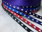 3/8'' (10mm) -Heavy weight Nylon Webbing with dog paw print- multi color choices