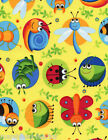 Multi Coloured Cute Bugs In Circles On Yellow Background,100% Cotton Fabric