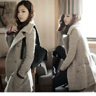 Winter Womens Jacket Cashmere wool Coat double breasted Overcoat Black Gray