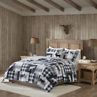 BEAUTIFUL CABIN LODGE COZY GREY BLACK RUSTIC PLAID MOOSE QUILT SET & PILLOWS